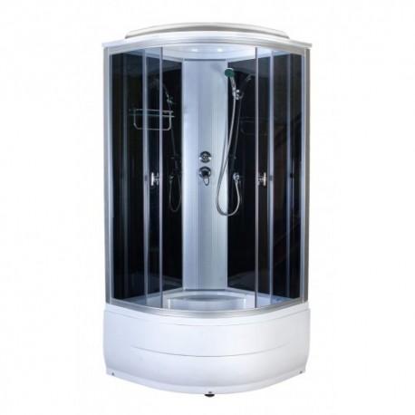 Душевая кабина Aquapulse 4102 D тонированные стекла, черные стенки, размер 90x90x220.