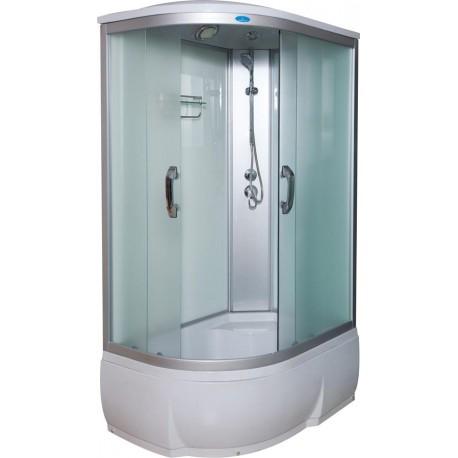 Душевая кабина Водный мир ВМ-8802, белые стенки, 120x80x215 см, Правосторонняя, матовые стекла ,комплектация стандарт