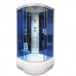 Душевая кабина Aquacubic 3302A blue mirror размером 100x100x220 см,голубое стекло,синие зеркальные задние стенки