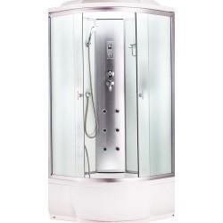 Душевая кабина Aquacubic 3302A fabric white размером 90x90x220 см,матовое стекло,белые задние стенки