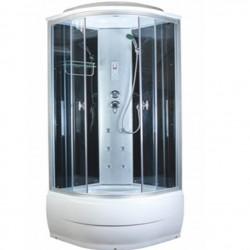 Душевая кабина Aquacubic 3302B grey black размером 90x90x220 см,черное стекло,черные задние стенки