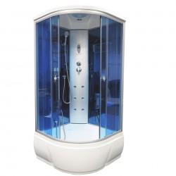 Душевая кабина Aquacubic 3302B blue mirror размером 90x90x220 см,голубое стекло,синие зеркальные задние стенки
