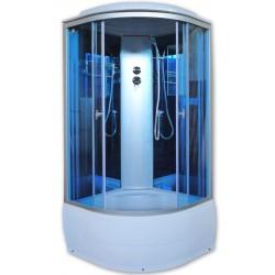 Душевая кабина Aquacubic 3302D blue mirror размером 90x90x220 см,голубое стекло,синие зеркальные задние стенки
