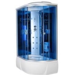 Душевая кабина Aquacubic 3306L blue mirror размером 120x80x220 см,левый угол,голубое стекло,синие зеркальные задние стенки
