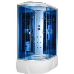 Душевая кабина Aquacubic 3306R blue mirror размером 120x80x220 см,правый угол,голубое стекло,синие зеркальные задние стенки