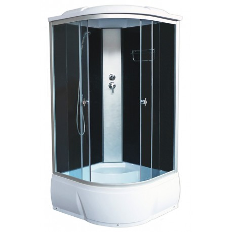 Душевая кабина Aquacubic 3302D grey black размером 90x90x220 см,черное стекло,черные задние стенки
