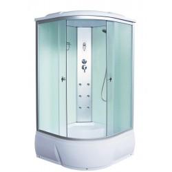 Душевая кабина Aquacubic 3102B fabric white размером 90x90x220 см,матовое стекло,белые задние стенки