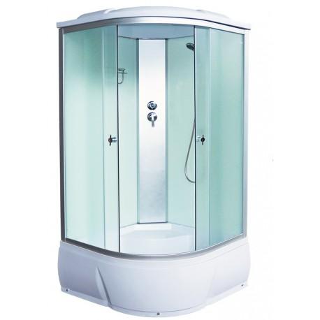 Душевая кабина Aquacubic 3102D fabric white размером 90x90x220 см,матовое стекло,белые задние стенки