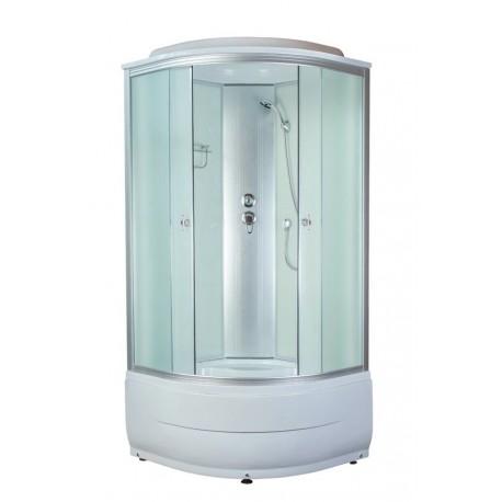 Душевая кабина Aquapulse 4102D размер 90x90x220 см,матовое стекло,белые стенки,с полкой,двойные ролики