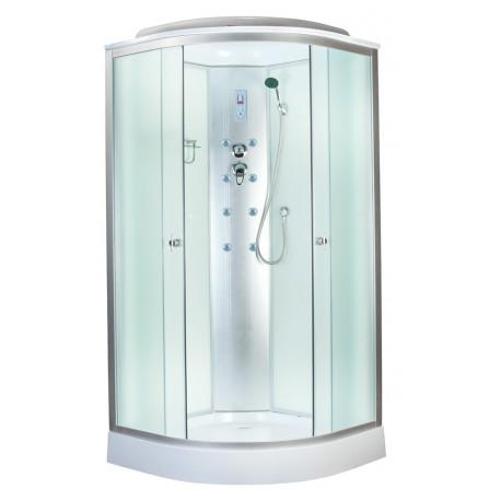Душевая кабина Aquapulse 4121B размер 80x80x220 см,матовое стекло,белые стенки,с электрикой