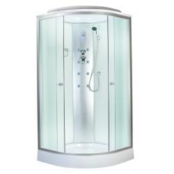 Душевая кабина Aquapulse 4122B размер 90x90x220 см,матовое стекло,белые стенки,с электрикой